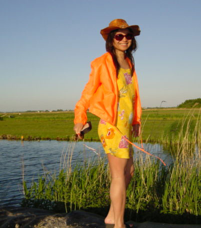 Anne in orange, Ilp, Netherlands, May 2001